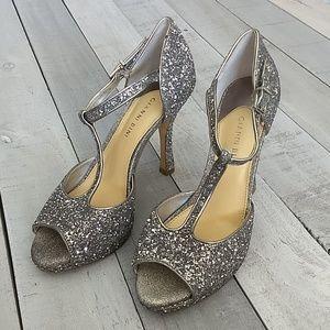 Gianni Bini glittery t strap heels